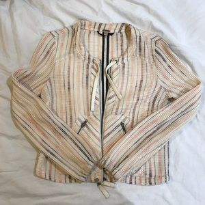 free people striped pastel zip up